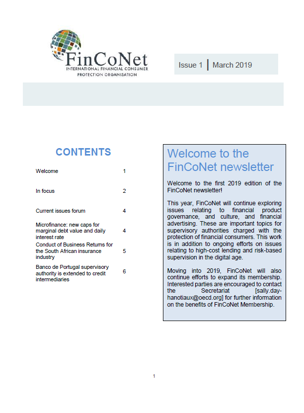 FinCoNet - Newsletter March 2019