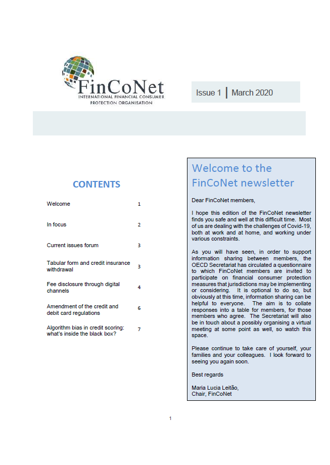 FinCoNet - Newsletter March 2020